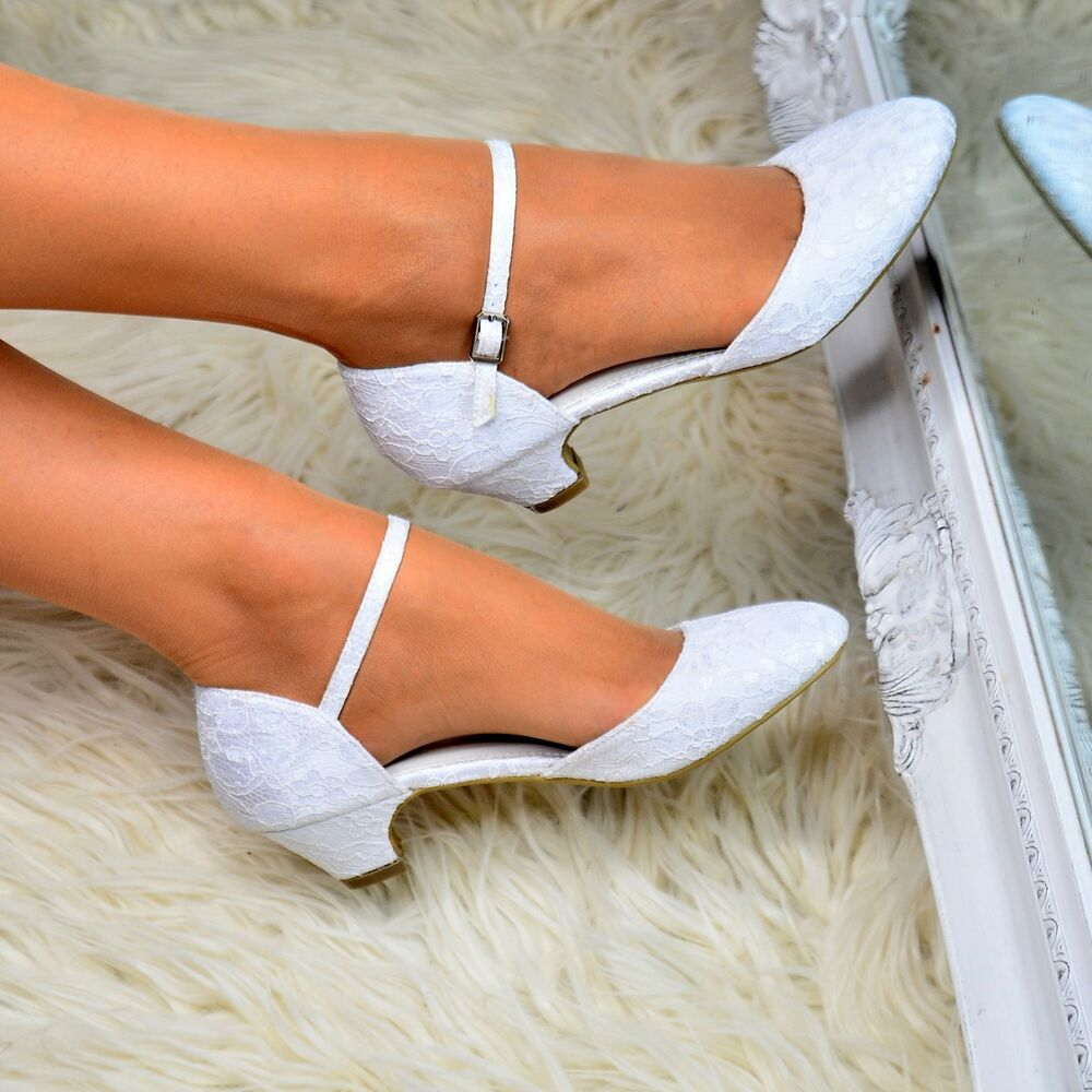 Ladies Low Heel Wedding Shoes Bridal Lace Mary Jane Ankle