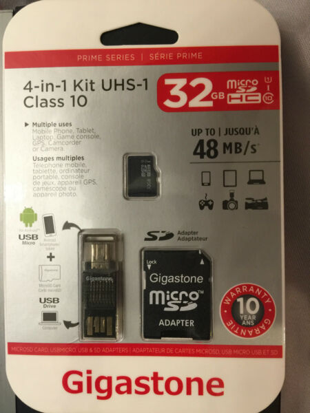 GIGASTONE 32GB 4-IN-1 Mobile Kit Class 10 Micro SD with SD & USB Adapters