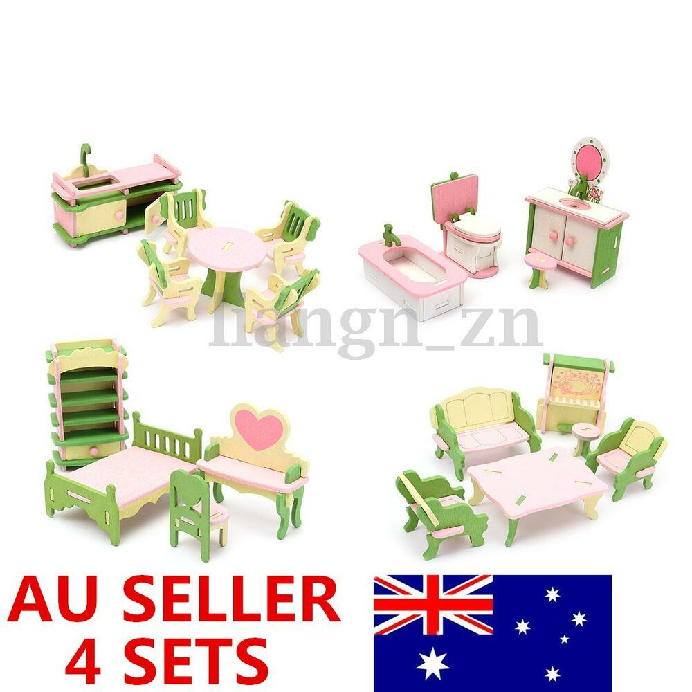 Wooden Dolls House Furniture Kitchen Guest Room Bathroom Bedroom Children Gift Ebay