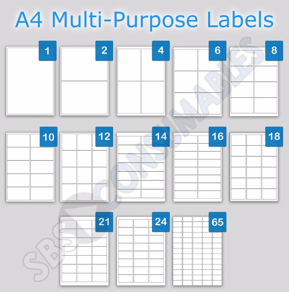Printable address labels a4 plain white sticky self for Label template 65 per sheet