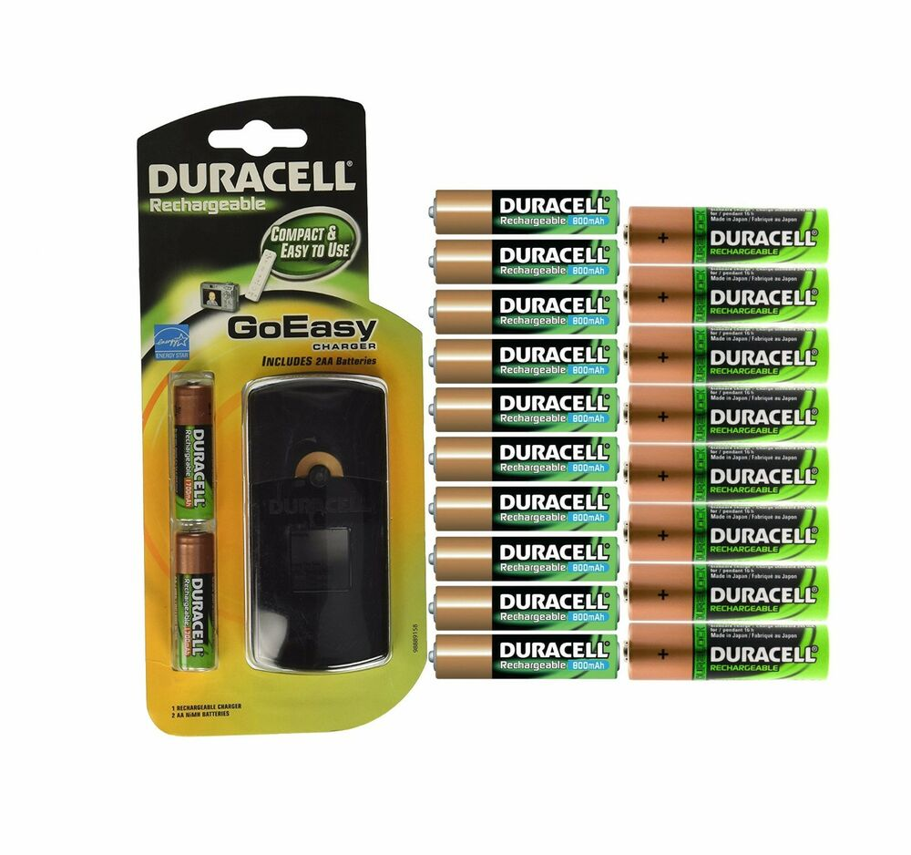 duracell goeasy charger with 10 aa and 10 aaa rechargeable. Black Bedroom Furniture Sets. Home Design Ideas