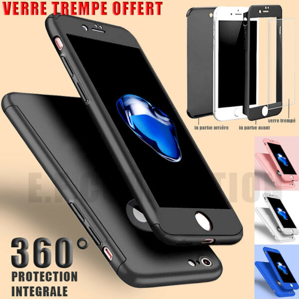 COQUE HOUSSE TOTAL 360 IPHONE 6 6S 7 8 5 XR XS MAX PROTECTION VITRE VERRE TREMPE
