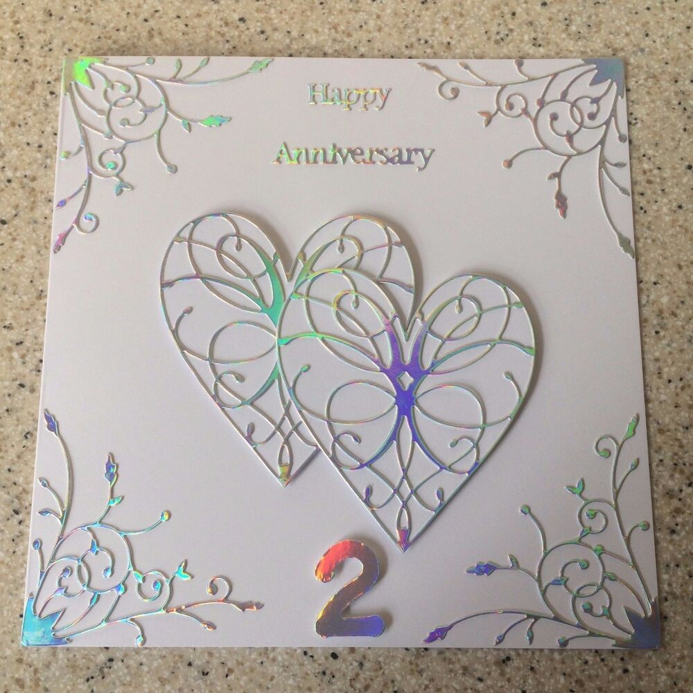 2nd Wedding Anniversary Gifts Uk: Handmade Cotton Wedding Anniversary Card Happy 2nd Wedding