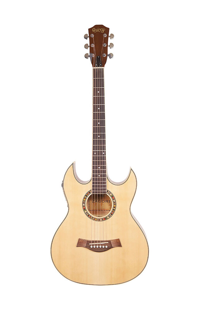 zagori by quincy double cut away thin line sg shape acoustic guitar cutaway uk ebay. Black Bedroom Furniture Sets. Home Design Ideas