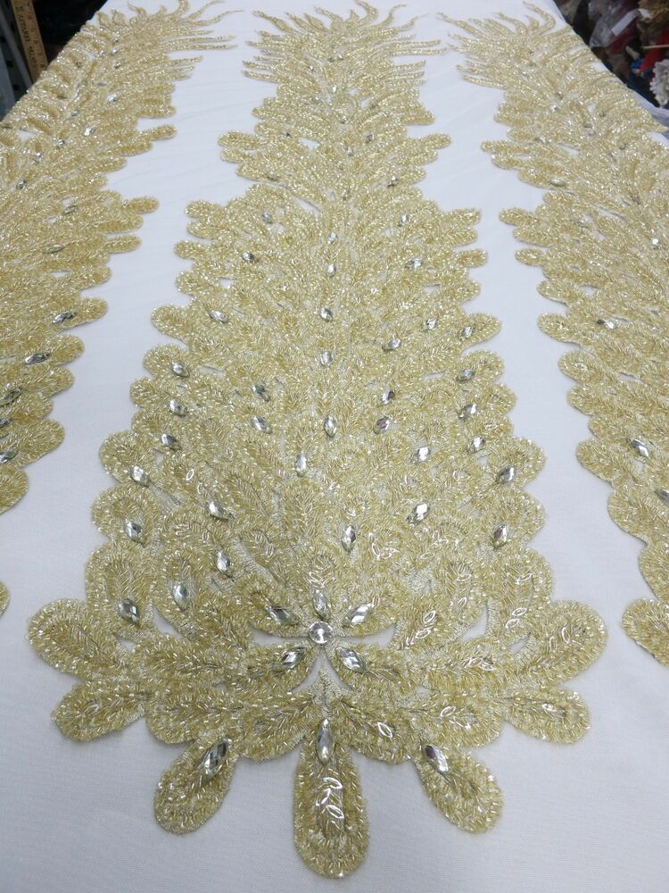 chagne bridal mesh w embroidery beaded lace crystals