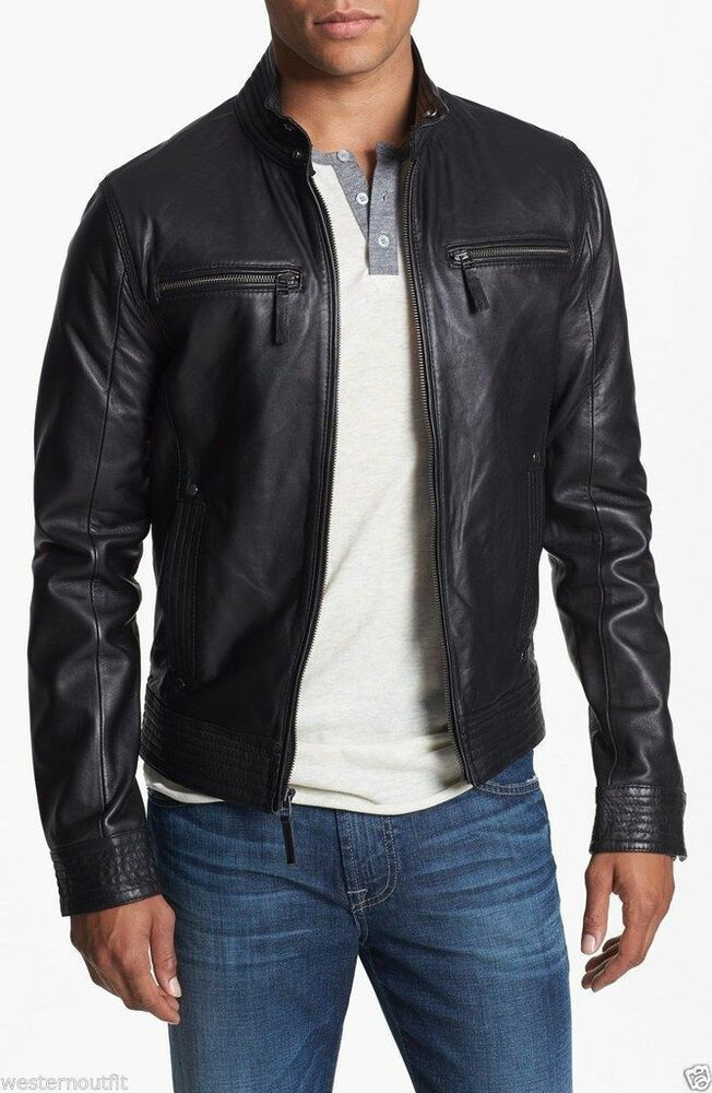 New style lambskin black leather bomber jacket biker for Cyber monday deals mens dress shirts