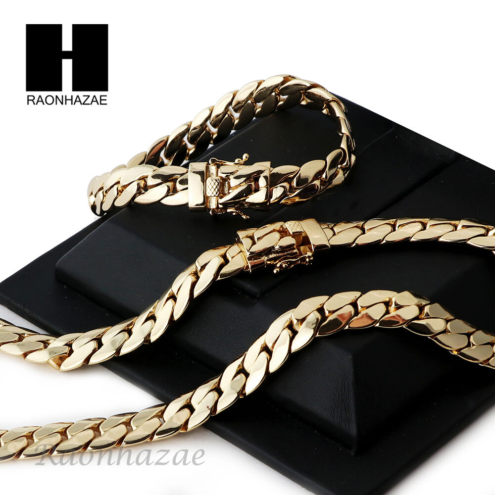 14k Gold Finish Heavy 12mm Miami Cuban Link Chain Necklace ...