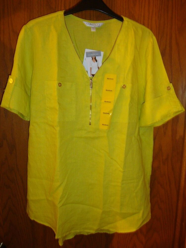 Company Ellen Tracy Ladies Limeade Roll Tab Linen Tunic
