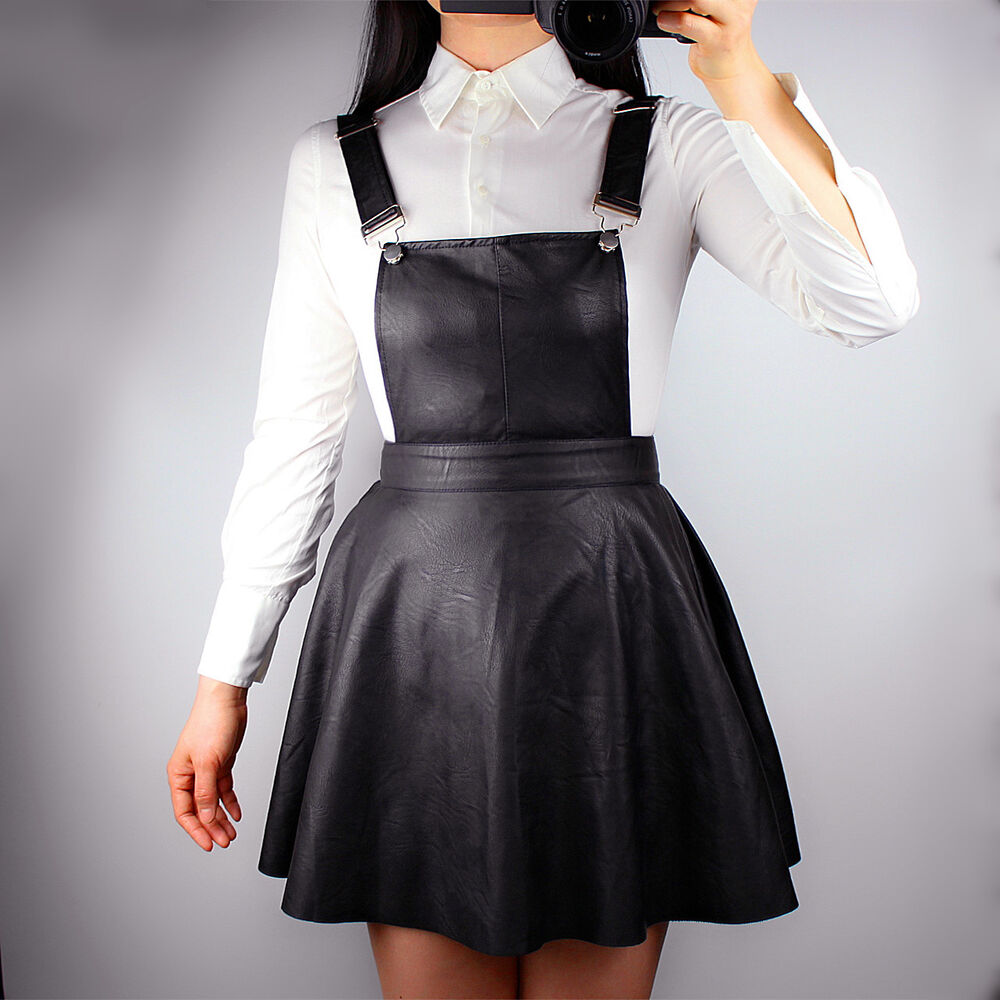 Flippy Skater Skirt Faux Leather Black Short Mini Pinafore ... | 1000 x 1000 jpeg 101kB