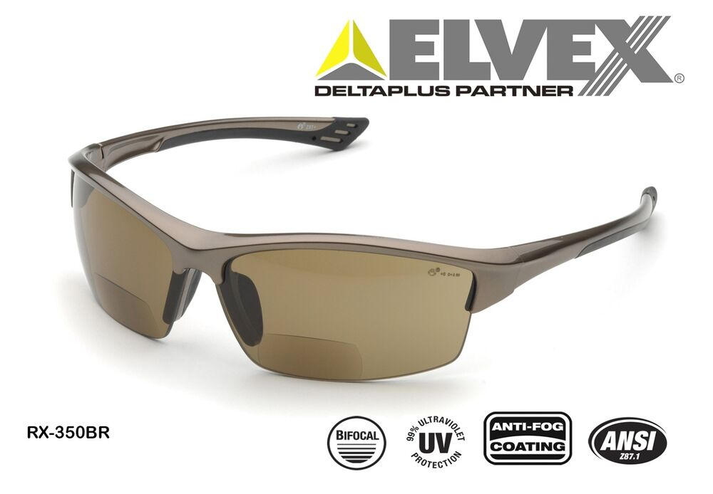 Elvex RX-350BR +1.0 Bi-Focal Safety Glasses-99% UV ...