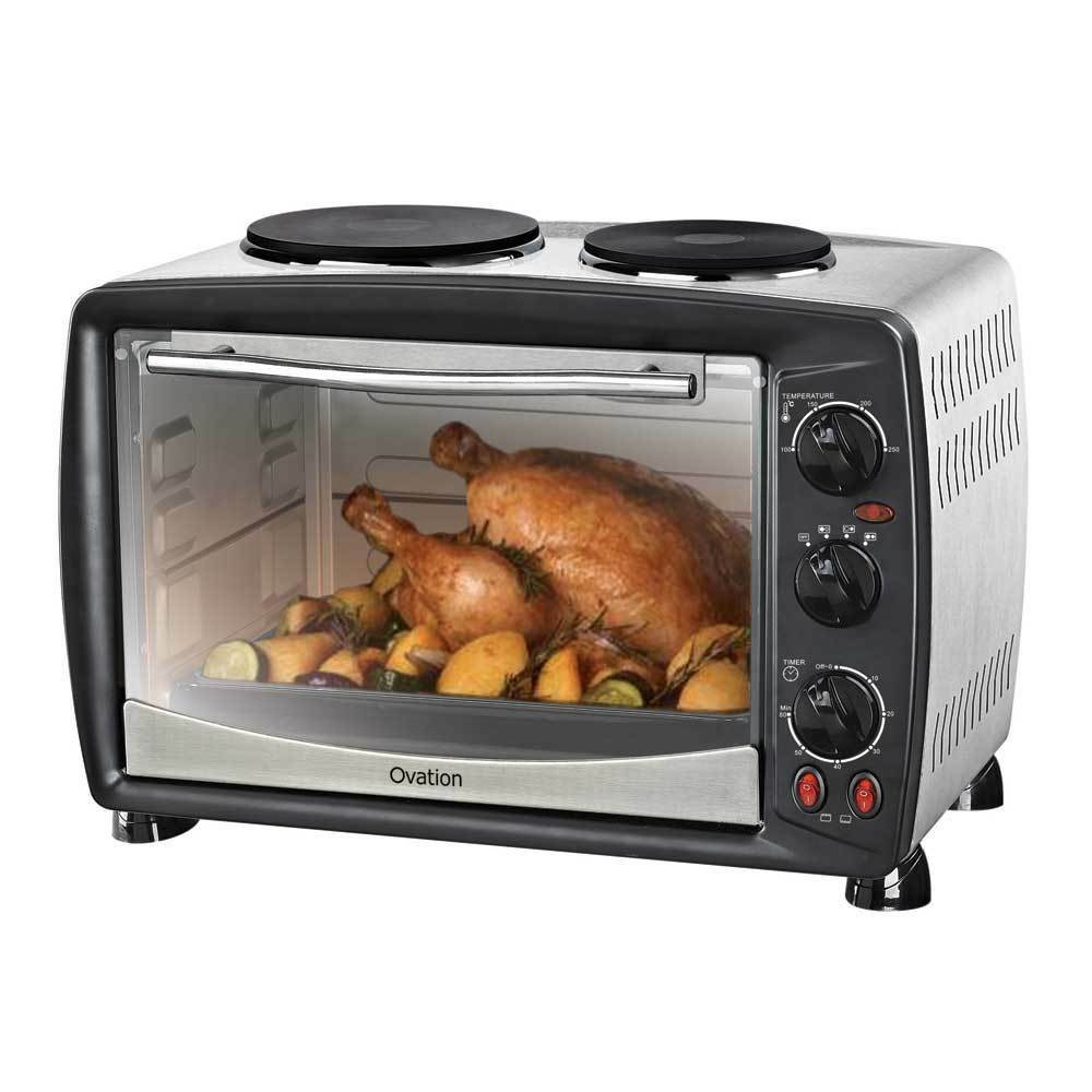 Portable Electric Oven ~ Portable benchtop electric oven with double hot plates