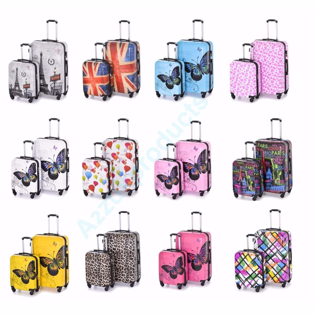hard shell 4 wheels suitcase pc luggage travel bag case cabin hand carry on ebay. Black Bedroom Furniture Sets. Home Design Ideas