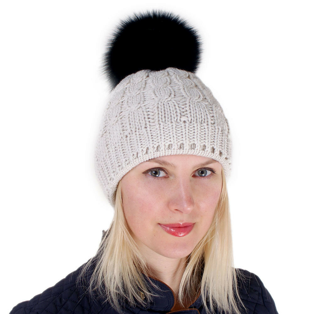 Details about Cream-colored Wool Hat with Black Fox Fur Pom Pom! Beanie  Winter Cap Bobble Hat 3262a913ed0