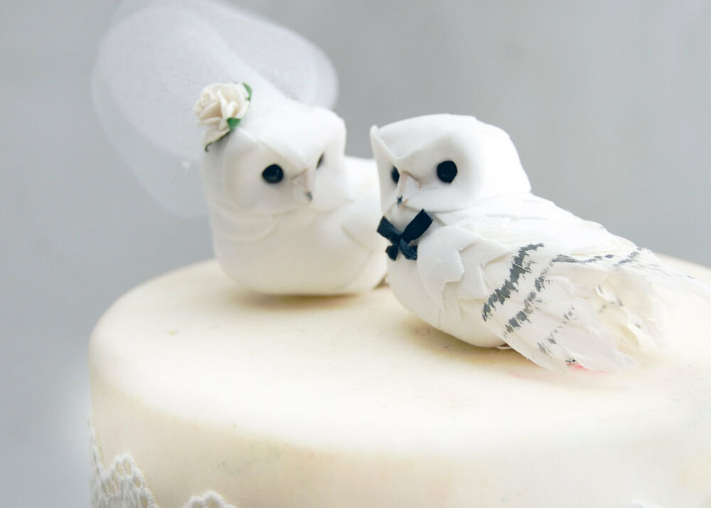 White Owl Wedding Cake Toppers
