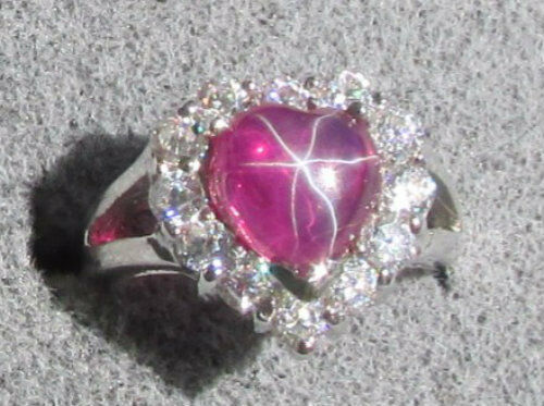 8mm Heart Linde Lindy Red Star Ruby Created Sapphire 2nd