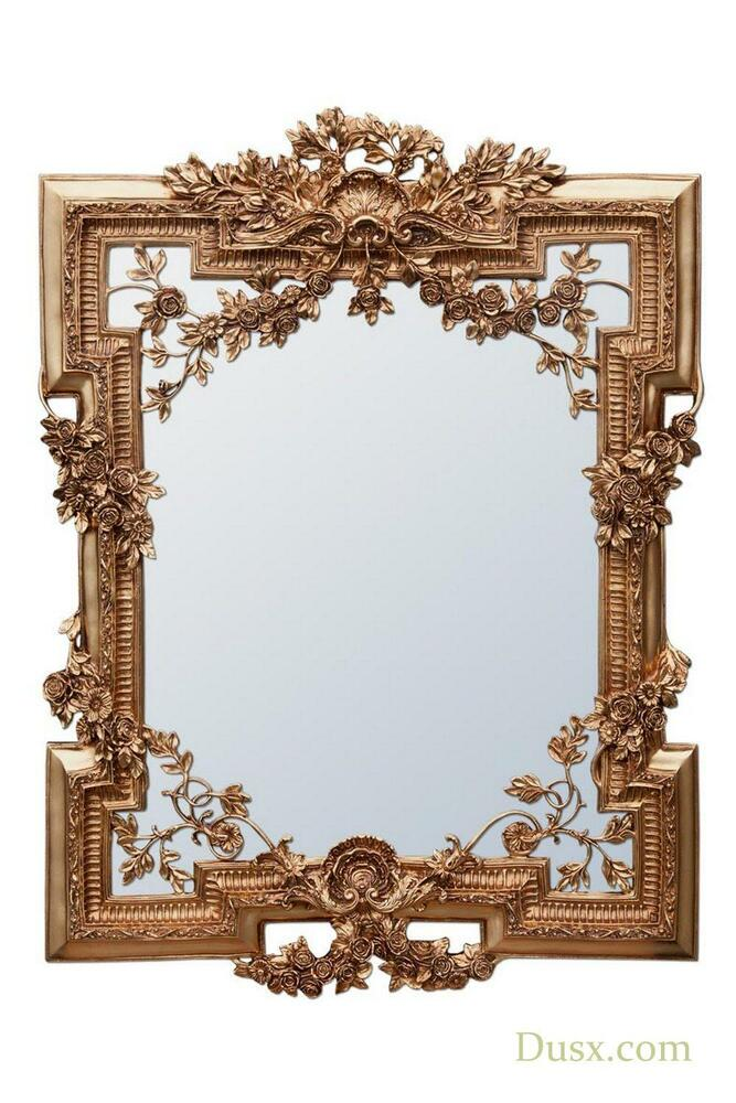 Dusx francesca floral antique gold decorative wall bedroom for Decorative bedroom mirrors