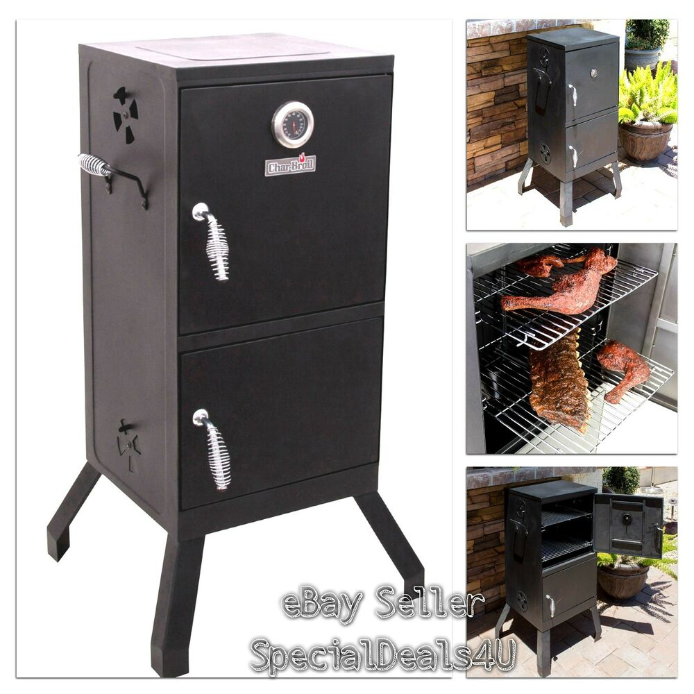 vertical charcoal smoker barbecue grill wood chip cooker outdoor patio bbq meat ebay. Black Bedroom Furniture Sets. Home Design Ideas