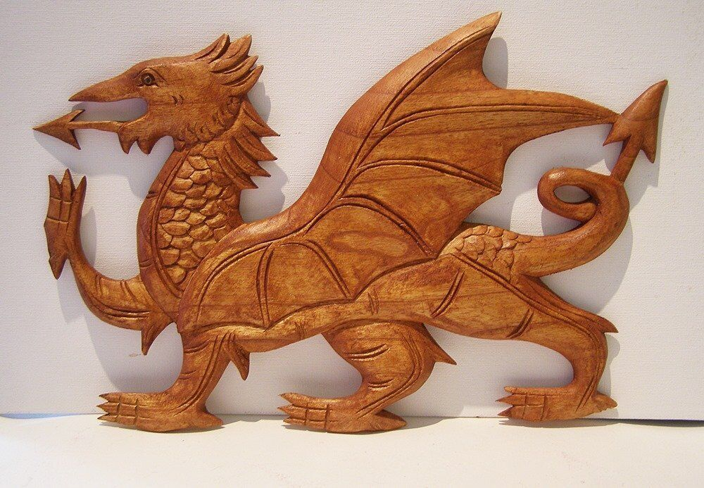 Hand carved wooden welsh dragon wall plaque picture art