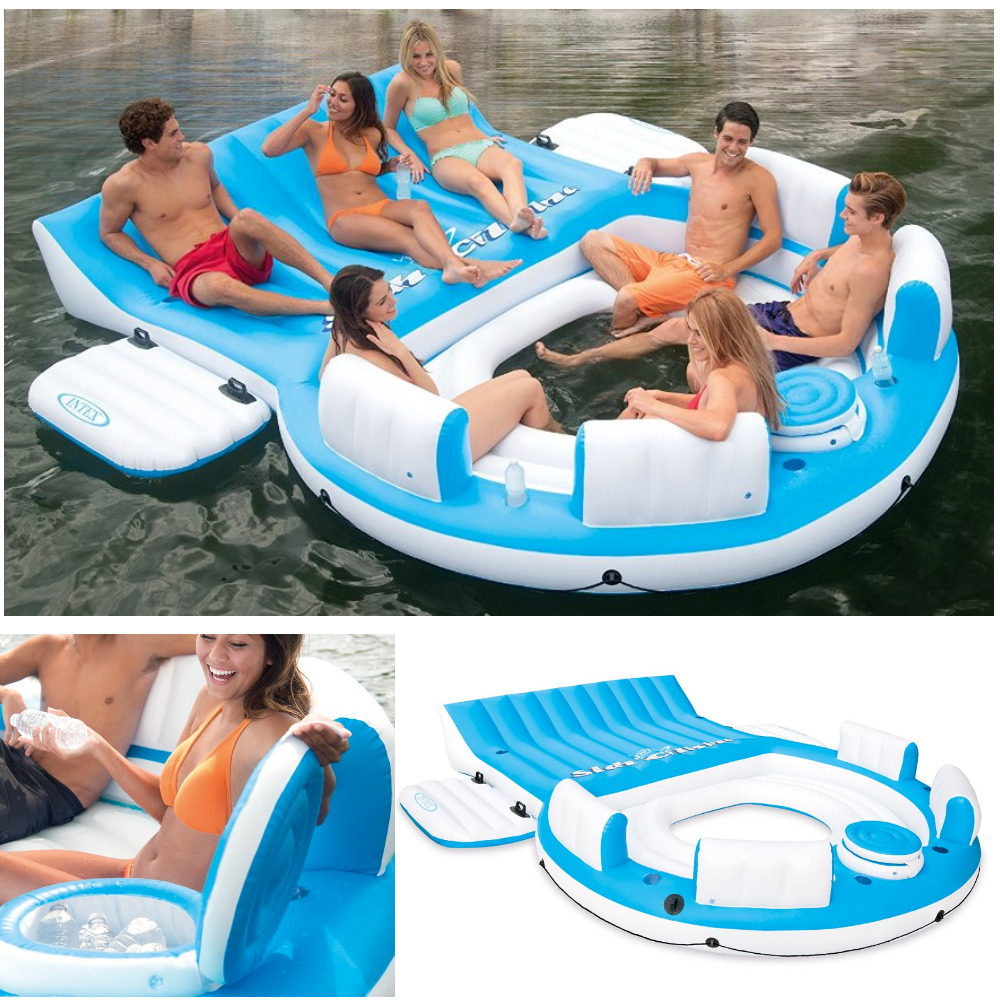 Relaxation Station Pool Lounge: Inflatable Oasis Floating Island Pool Lake Water Party
