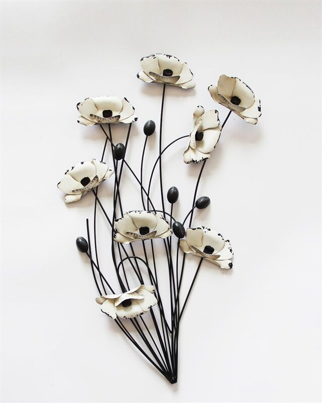 metal wall art decor picture cream poppies bunch with black stems poppy flower ebay. Black Bedroom Furniture Sets. Home Design Ideas