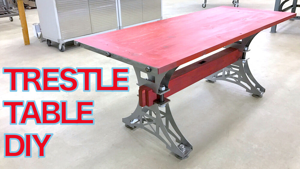 Hand made industrial trestle dining table steel base for Diy trestle dining table