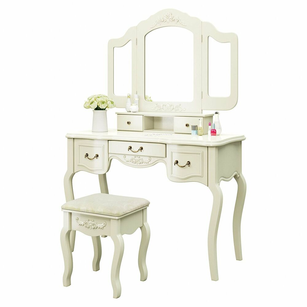 Vanity makeup table set with stool tri folding mirror 5 for Vanity table with drawers no mirror
