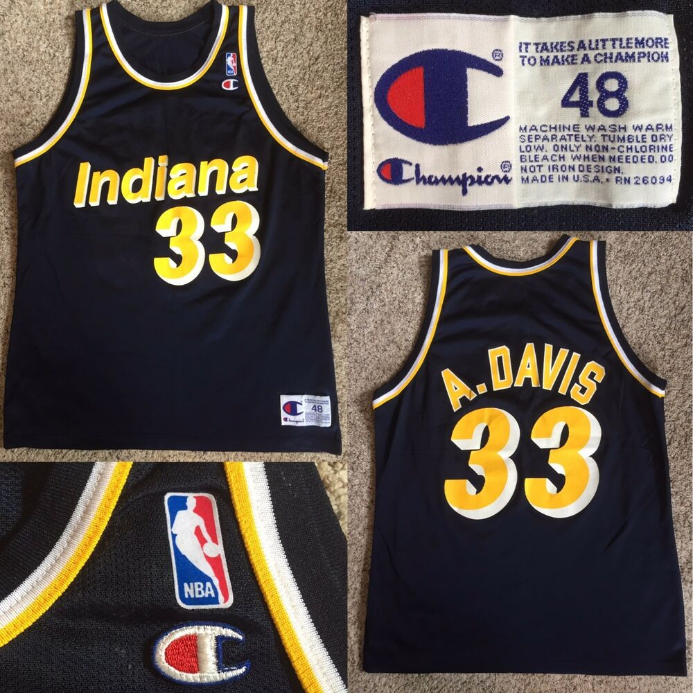 c2b50a769 Vtg 90s Champion Indiana Pacers Antonio Davis  33 Basketball Jersey sz 48 XL  NBA