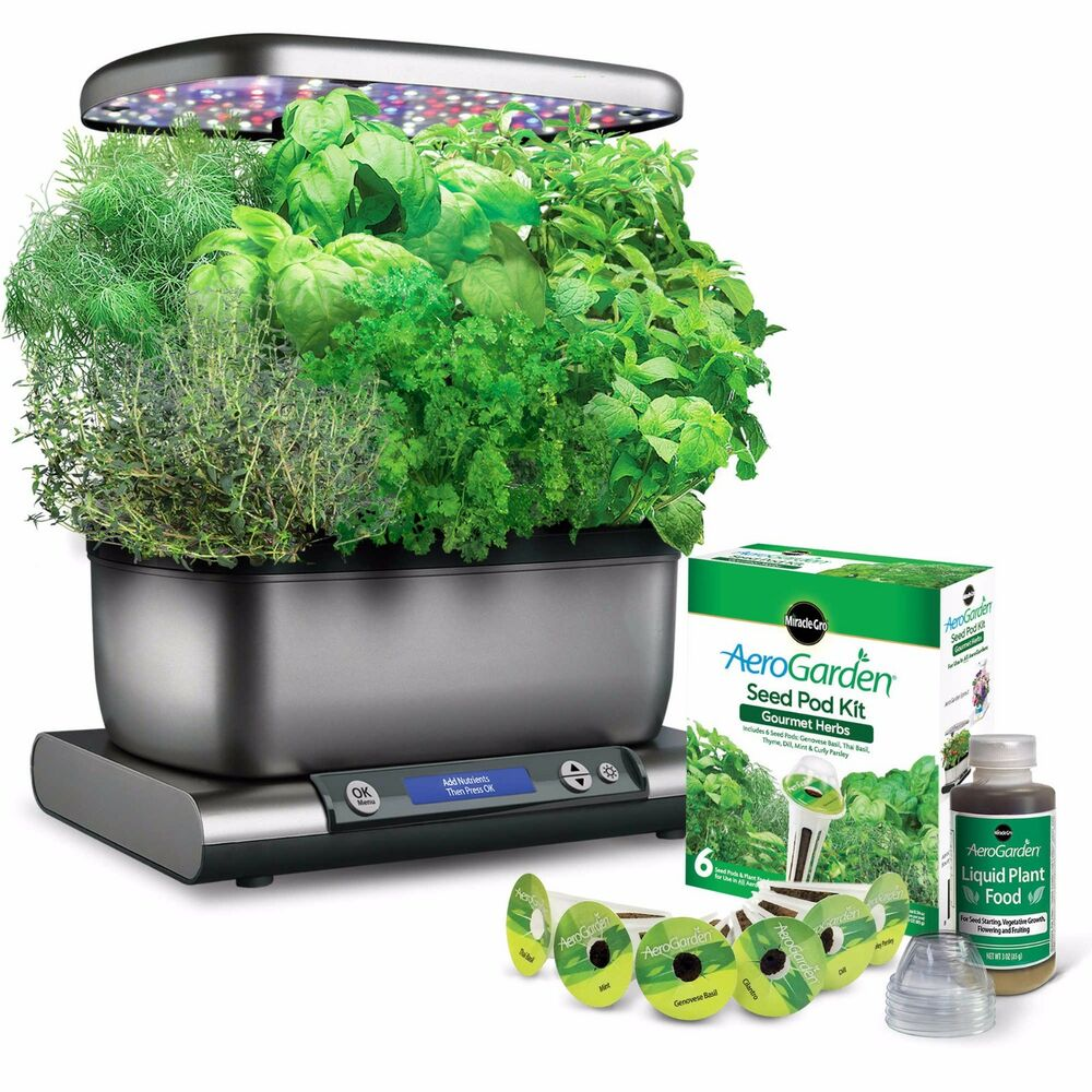 Herb Kits For Indoors: New Miracle-Gro® AeroGarden™ Harvest Plus Seed Kit In Grey