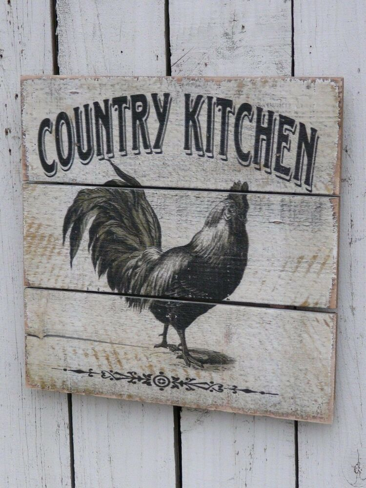 country kitchen signs primitive vintage style wood rooster country kitchen sign 2890