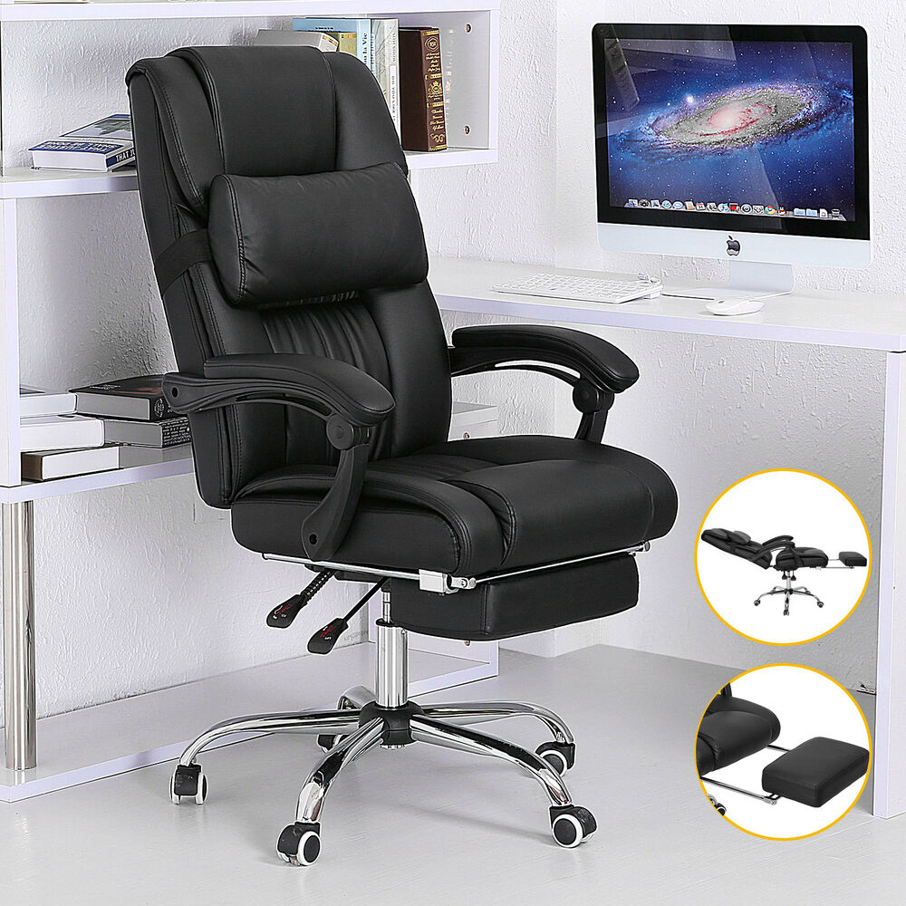 executive reclining office chair ergonomic high back leather footrest