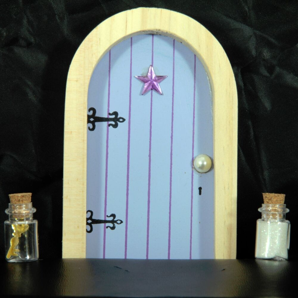 Lilac blue fairy faerie elf door with fairy dust and magic for Fairy door with key