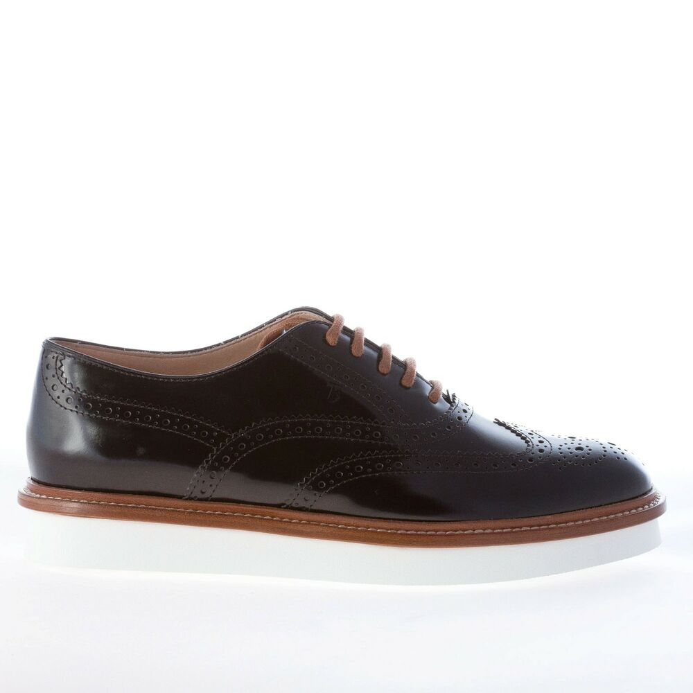 new concept 90c14 4bcde Details about TOD S women shoes Black leather lace oxford wingtip brogue  style