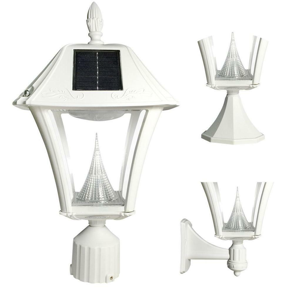 Outdoor lighting solar post wall dusk to dawn light white lamp light fixture led ebay for Solar exterior post lantern light