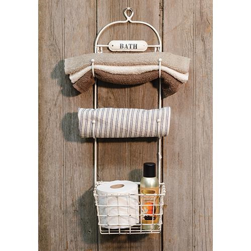 New shabby primitive farmhouse chic cream bath towel rack for Shabby chic towel stand