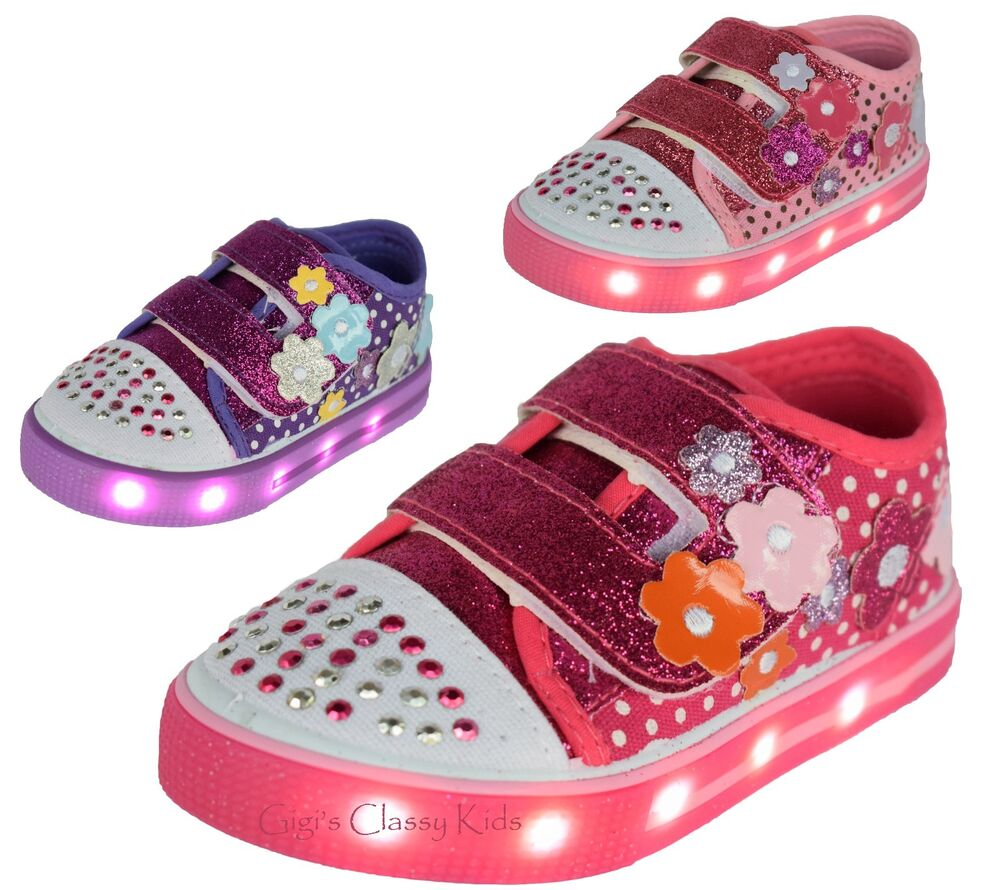 Baby Toddler Girls LED Light Up Canvas Glitter Tennis