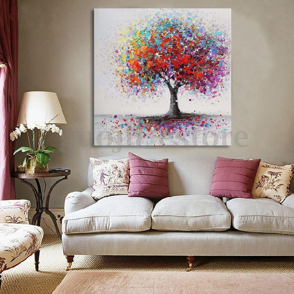 framed colorful tree abstract picture canvas prints painting home wall art decor ebay. Black Bedroom Furniture Sets. Home Design Ideas