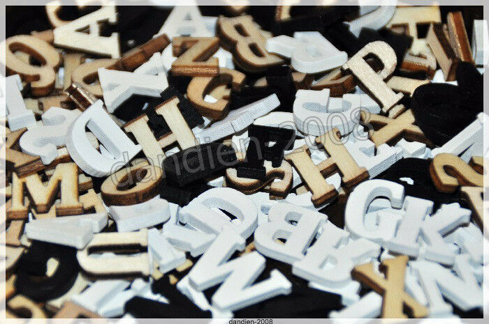 alphabet abc 78 mini holzbuchstaben natur schwarz wei deko basteln scrapbooking ebay. Black Bedroom Furniture Sets. Home Design Ideas
