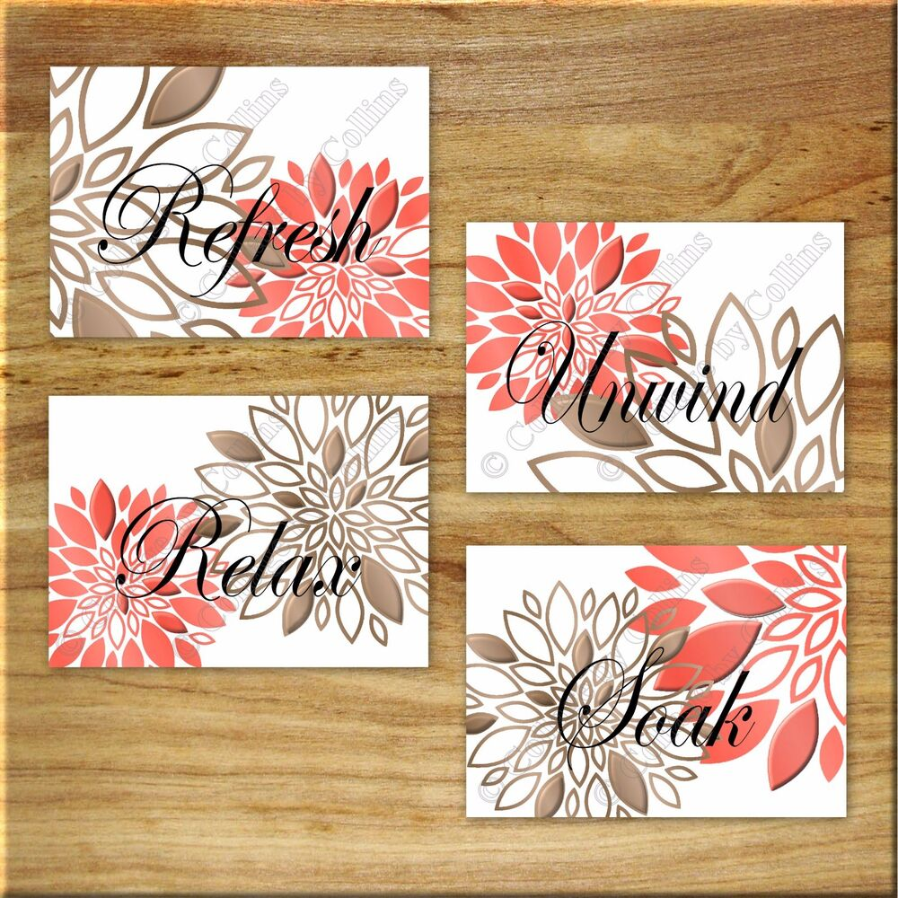 Coral Brown Bathroom Wall Art Prints/Picture Decor Floral