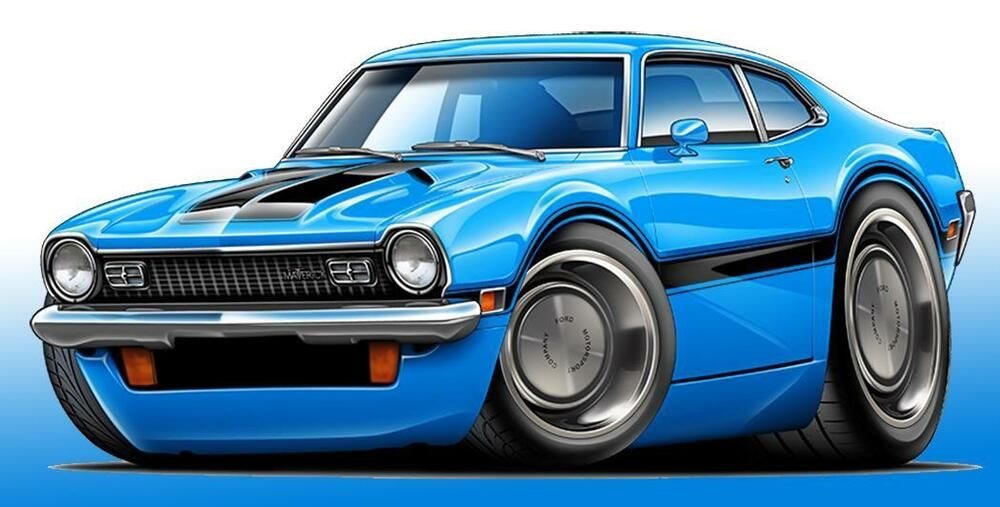 Ford Maverick Classic Muscle Car Art Poster New Ebay