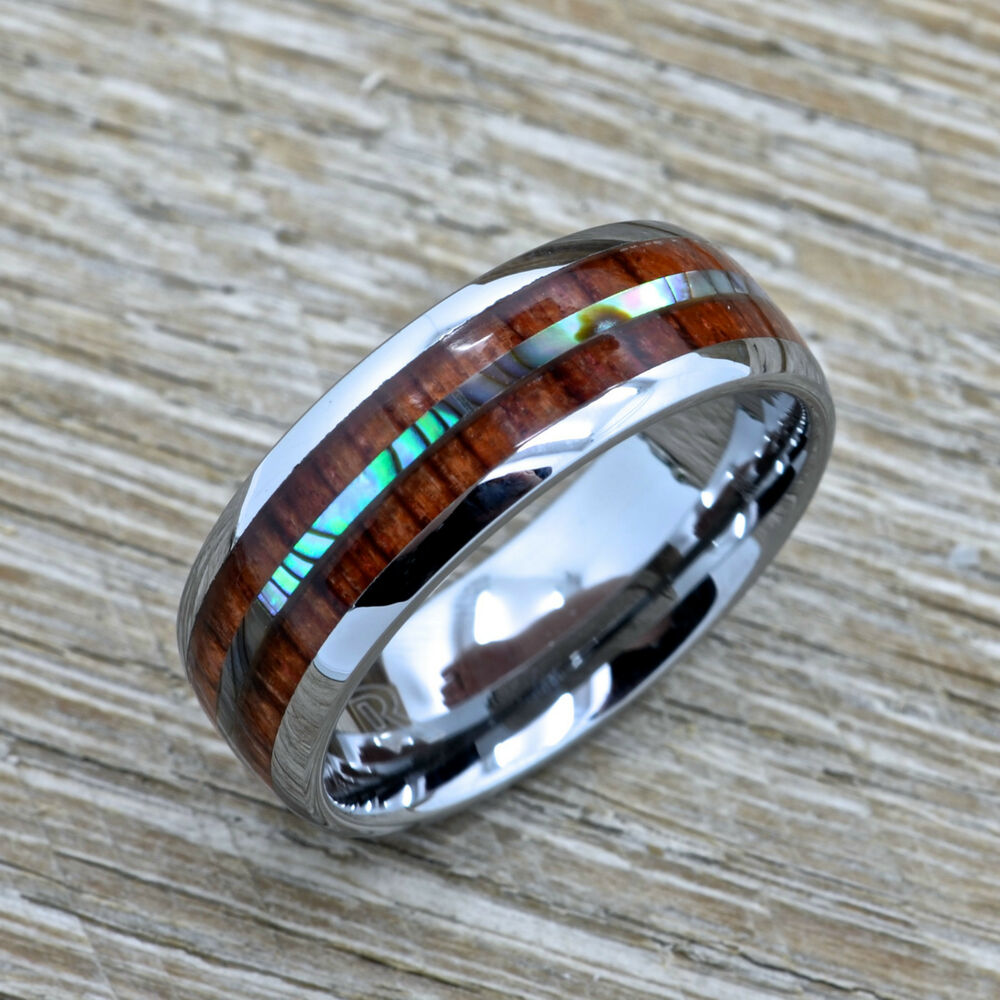 Men's Koa Wood Tungsten Wedding Ring With Abalone Inlay
