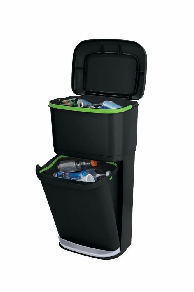 rubbermaid dustbin trash can double decker 2 in 1 recycling modular bin ebay. Black Bedroom Furniture Sets. Home Design Ideas