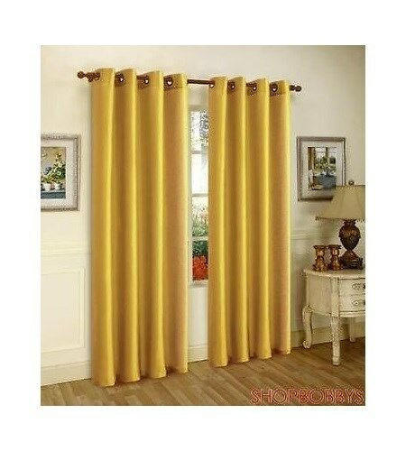 Melanie Faux Silk Panel With 8 Grommets Mustard Yellow