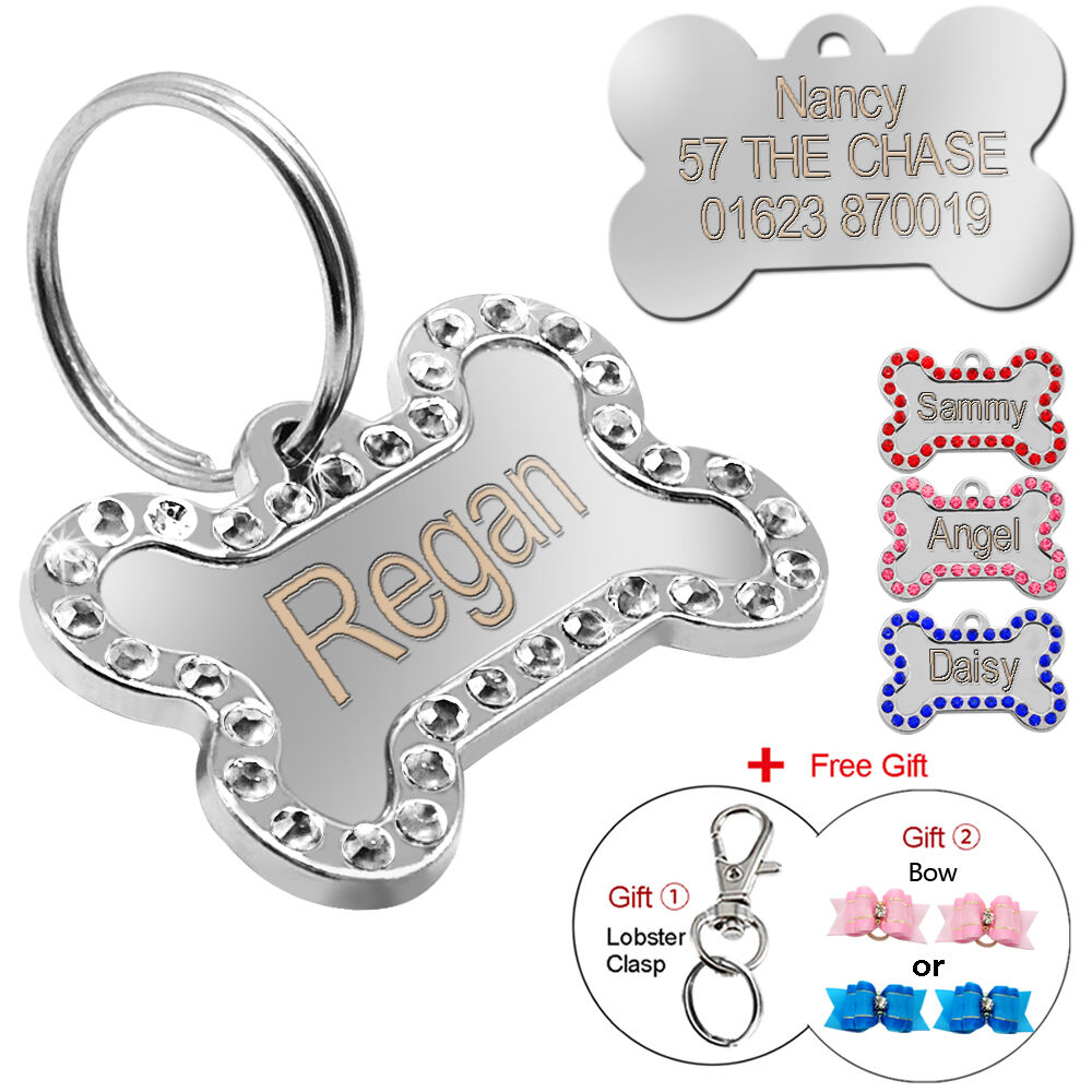 engraved pet dog tags bling rhinestone cat id name collar. Black Bedroom Furniture Sets. Home Design Ideas