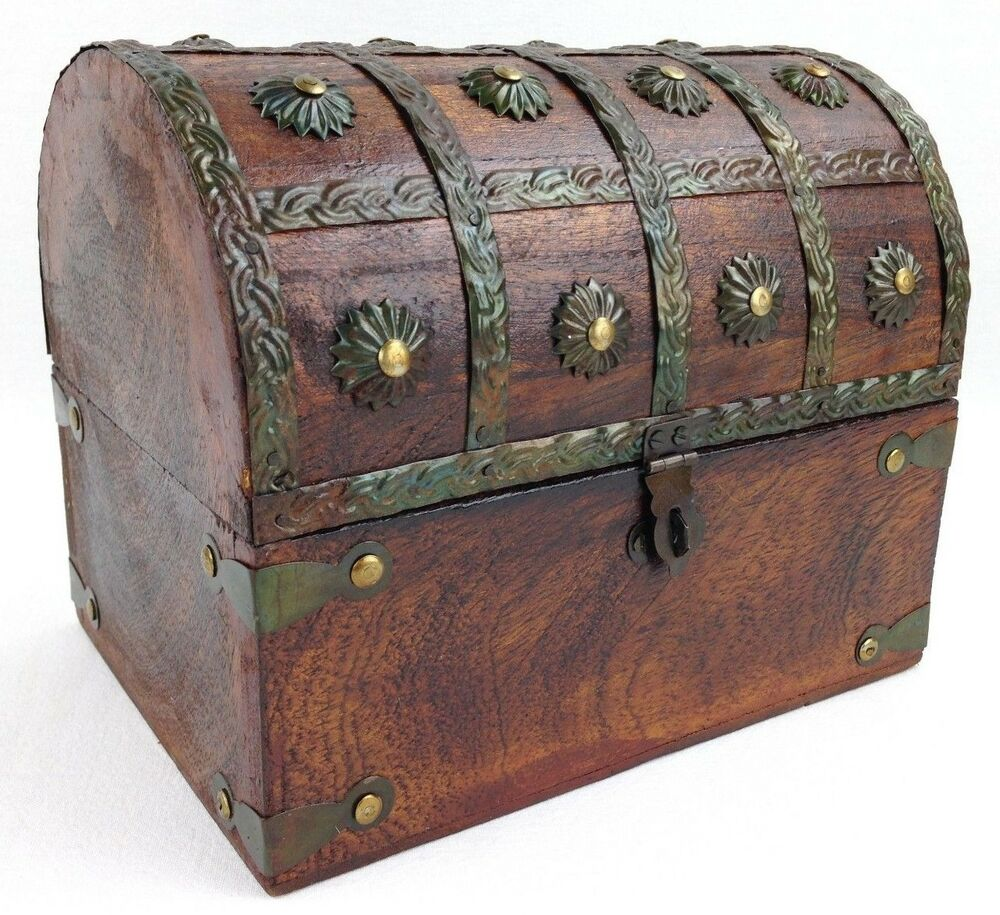 "Wooden Pirate Treasure Chest Decorative Storage Box (8""x6 ..."