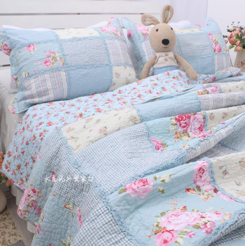 Shabby Chic Cottage Floral Blue Patchwork Cotton Quilt