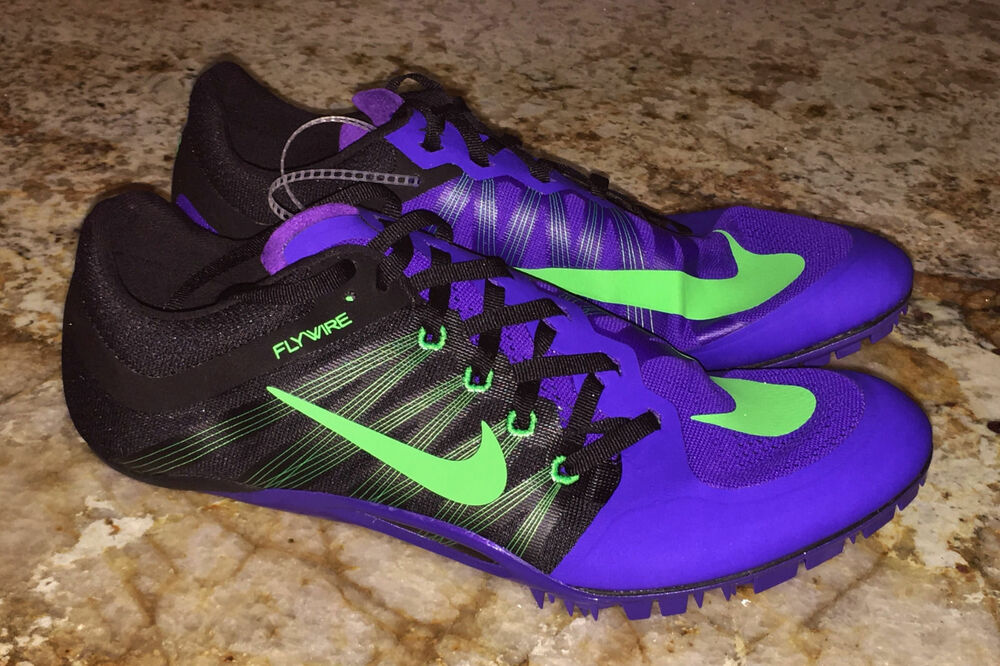 2b612249d386 Details about NIKE JA Fly 2 Purple Black Lime Gre Track Sprint Spikes Shoes  Mens 10.5 11 12 13