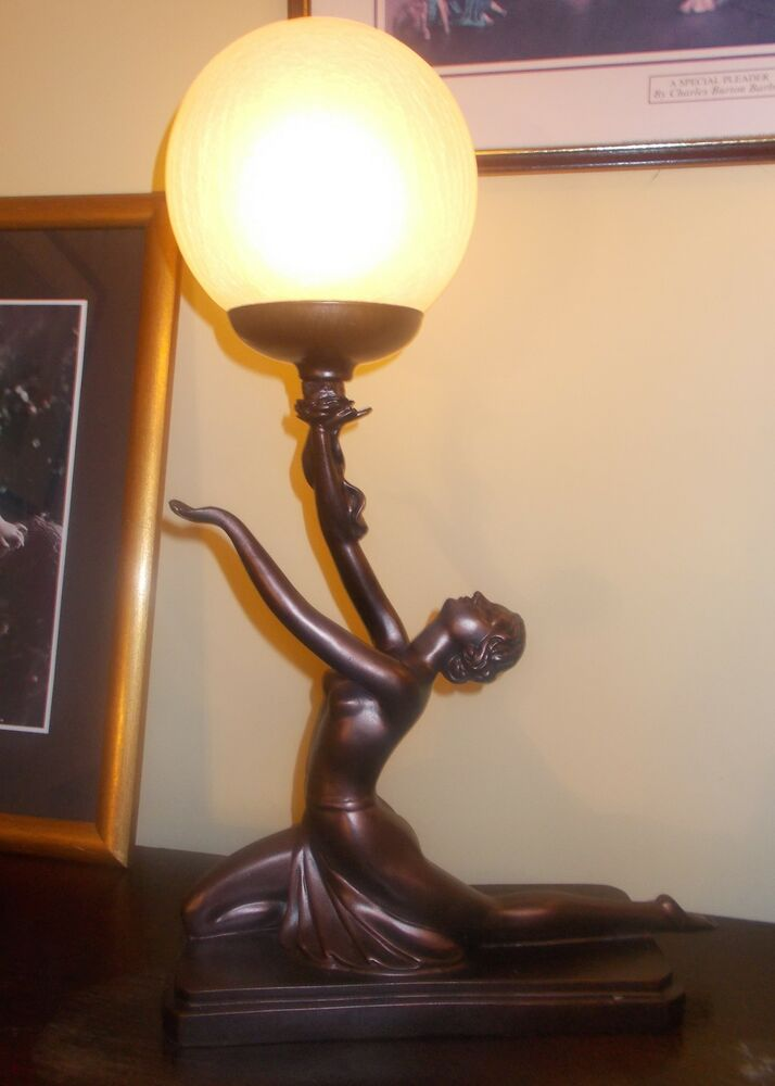 art deco lamp bronze nude glass globe lady women figurine vintage table light ebay. Black Bedroom Furniture Sets. Home Design Ideas
