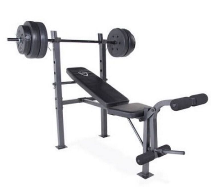 Home Gym Bench Set: CAP Barbell Deluxe Bench With 100 Pound Weight Set Combo