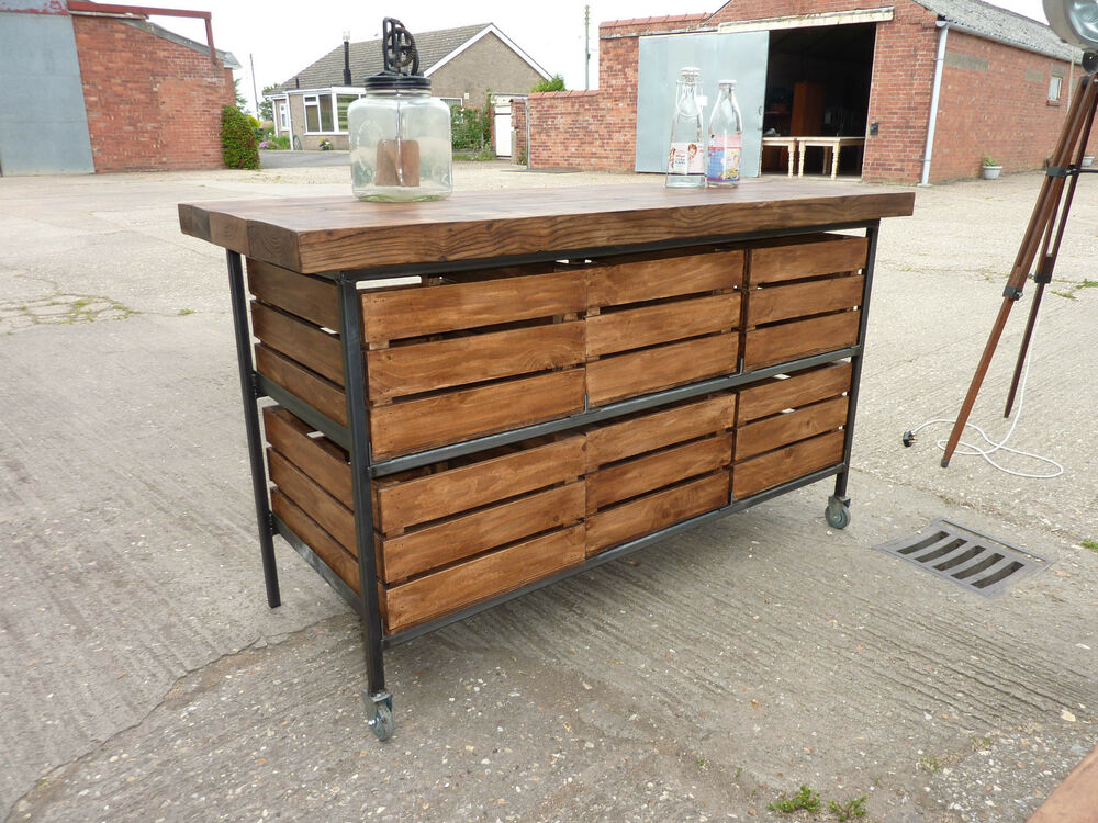 Stunning Industrial Rustic Pine Oak Kitchen Island