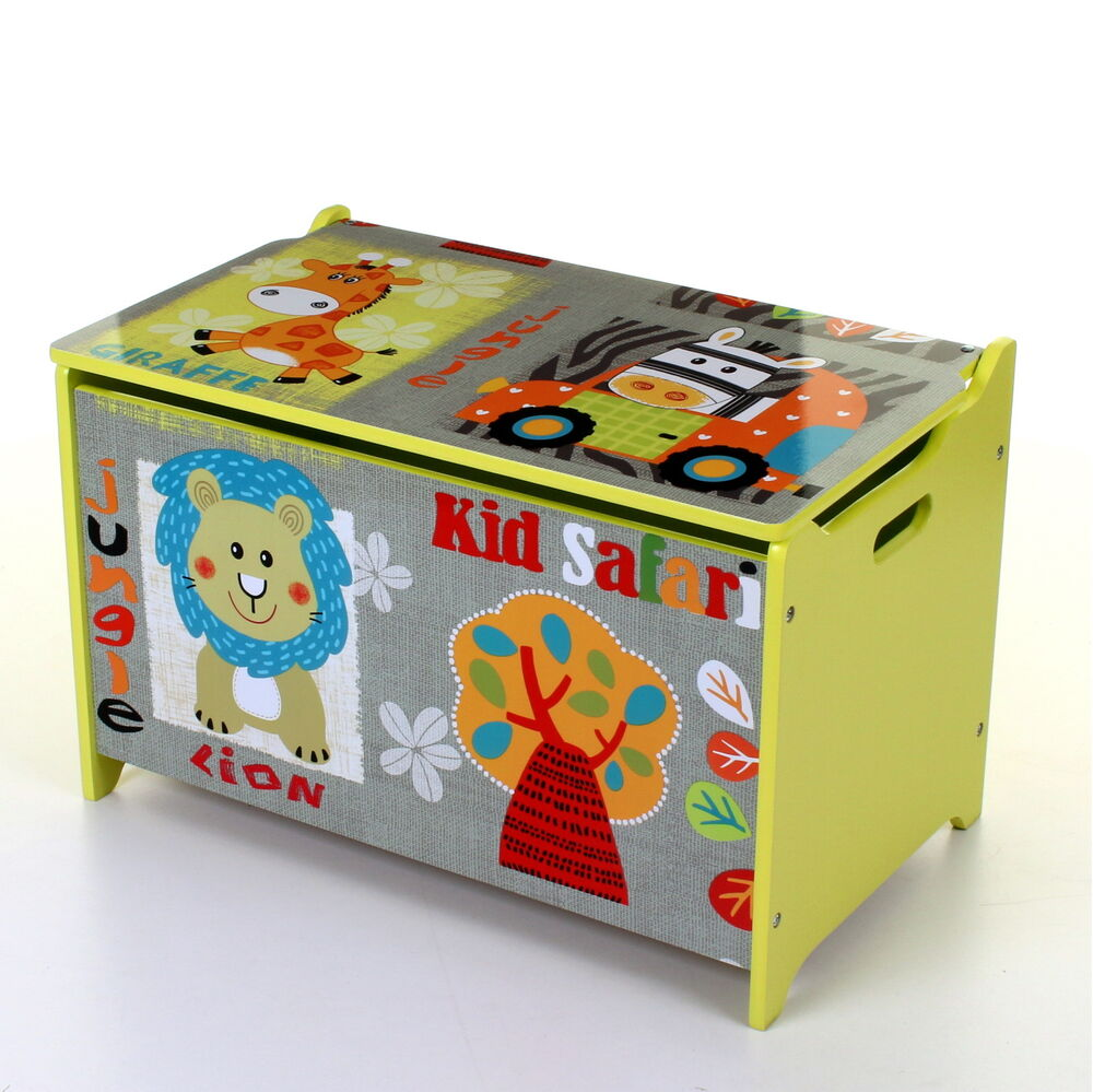 New Safari Bus Kids Folding Storage Bin Toy Box Clothes: LARGE KIDS CHILDREN WOODEN TOY BOX STORAGE CHEST UNIT LID